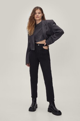 Nasty Gal Womens Cut-Out of this World High-Waisted Mom Jeans - Washed Black