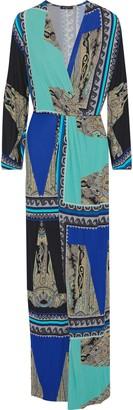 Etro Wrap-effect Printed Stretch-jersey Maxi Dress