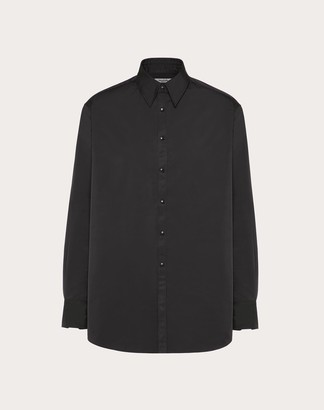 Valentino Semi Oversized Nylon Shirt Man Black 43