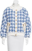 Balmain Leather-Trimmed Houndstooth Pattern Jacket