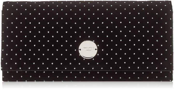 Jimmy Choo FIE Black Glitter Spotted Velvet Clutch Bag