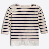 J.Crew Factory Girls' three-quarter sleeve striped ruffle-hem T-shirt