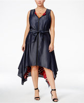 Poetic Justice Trendy Plus Size Plaid-Lined Dress