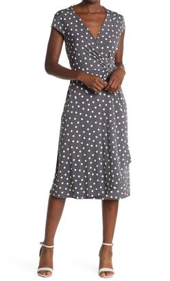 Robbie Bee Dot Printed Cap Sleeve Jersey Dress