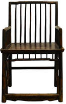 One Kings Lane Vintage Antique Chinese Handmade Elm Wood Chair - FEA Home - brown/lacquered