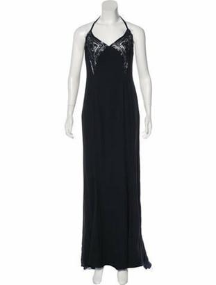 Valentino Silk Embellished Gown Navy