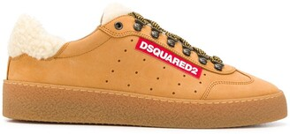 DSQUARED2 shearling-trimmed sneakers