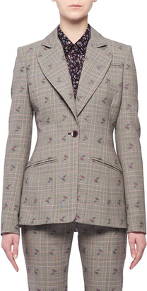 Altuzarra Single-Breasted Floral-Embroidered Prince of Wales Check Blazer