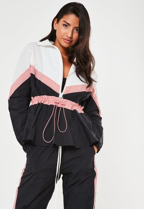 Missguided Black Co Ord Contrast Panel Windbreaker Jacket