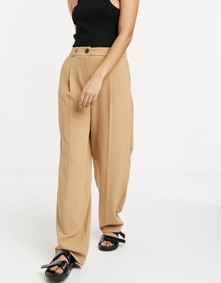 Topshop tailored trousers in camel