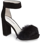 Jeffrey Campbell Women's Lindsay Genuine Rabbit Fur Sandal