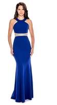 Decode 1.8 Illusion Beaded Waist Halter Gown 183440