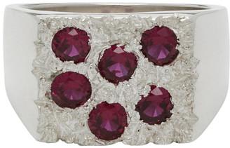 Bleue Burnham Silver and Pink The Grand Rose Garden Signet Ring