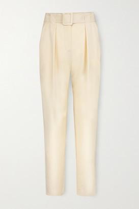 ENVELOPE1976 Net Sustain Pfeiffer Belted Pleated Wool Pants - Cream