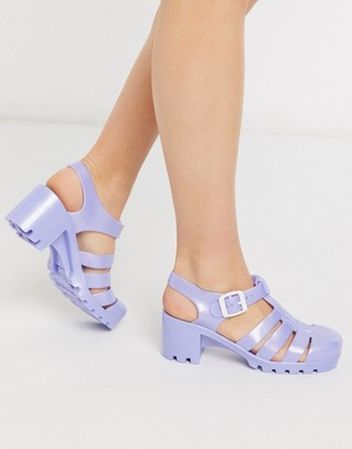 London Rebel heeled jelly shoes in lilac