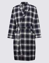 M&S Collection Pure Brushed Cotton Checked Dressing Gown