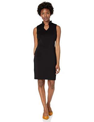 Calvin Klein Women's Petite Solid Sleeveless Sheath with Ruffle Collar Dress