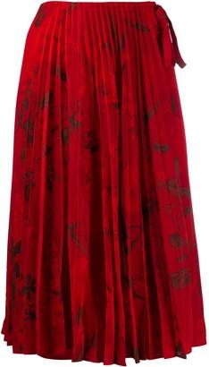 Valentino Pleated Floral Print Midi Skirt