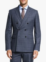 John Lewis & Partners Prince of Wales Check Double Breasted Suit Jacket, Navy