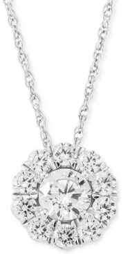 """Grown With Love Lab Grown Diamond Halo 18"""" Pendant Necklace (1 ct. t.w.) in 14k White Gold"""
