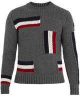 Moncler Crew-neck intarsia-knit wool sweater