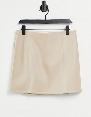 Miss Selfridge faux leather skirt in burgundy-Purple