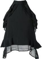 Jonathan Simkhai mesh detail blouse - women - Polyester/Spandex/Elastane/Acetate/Viscose - M