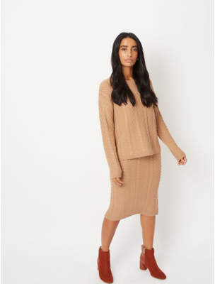 George Beige Cable Knit Midi Skirt
