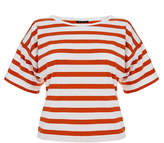 Theory Fayla Red and White Nautical Stripe Top