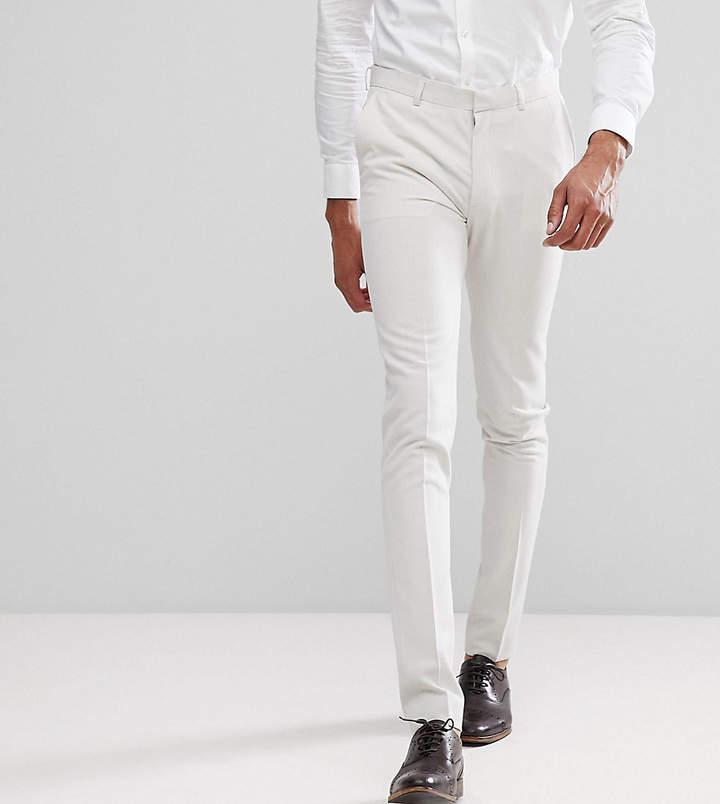 Asos Design TALL Super Skinny Smart Pants In Cream