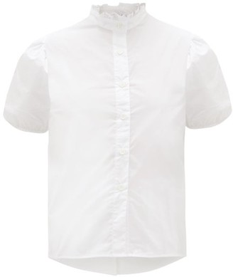 Thierry Colson Vike Ruffled High-neck Cotton-poplin Shirt - White