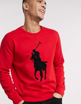 Polo Ralph Lauren sweatshirt in red with large towelling logo