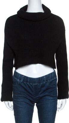 Valentino Black Wool Rib Knit Turtle Neck Cropped Sweater M