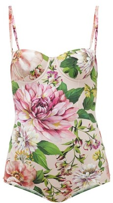 Dolce & Gabbana Balconette Peony-print Swimsuit - Womens - Pink Print