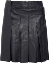 Pleated Leather Mini Skirt - ShopStyle