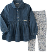 Calvin Klein Baby Girls' 2-Pc. Denim Tunic & Animal-Print Leggings Set