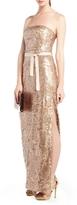 Lela Sequined Strapless Evening Dress