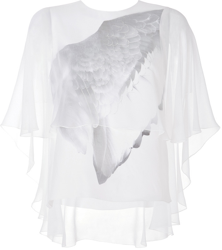Prabal Gurung Wing Print Silk-Charmeuse Cape Blouse in White