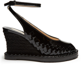 Bottega Veneta Intrecciato patent-leather espadrille wedge pumps