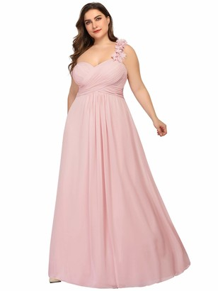 Ever Pretty Ever-Pretty Women's Floor Length One Shuolder Empire Waist A Line Chiffon Ball Gowns Dresses Plus Size Pink 22UK