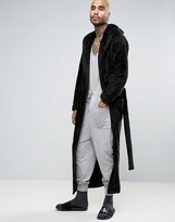 Asos Extreme Longline Shawl Neck Fleece Robe