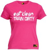 Sex Weights and Protein Shakes Premium SWPS Premium - Women's Eat Clean Train Dirty (L - ) FITTED T-SHIRT