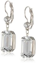 """Swarovski 1928 Jewelry """"Bridal Crystal"""" Silver-Tone Square Drop Earrings with Crystals"""