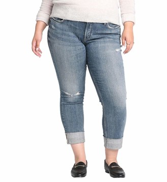 Silver Jeans Co. Women's Plus Size Boyfriend Mid Rise Jeans