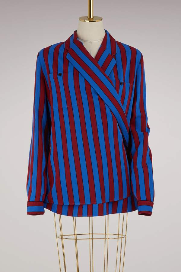 Maison Margiela Striped wrap shirt