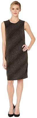 Vince Camuto Sleeveless Gold Textured Knit Dress (Rich Black) Women's Dress