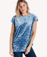 Sole Society Extend Shoulder Knit Crushed Velvet Tee