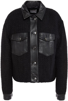 Sandro Leather-trimmed Boucle-tweed Jacket
