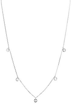 Aqua Sterling Silver Thin Chain Circle Drop Necklace, 16 - 100% Exclusive