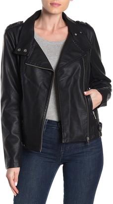 Sebby Asymmetrical Faux Leather Moto Jacket